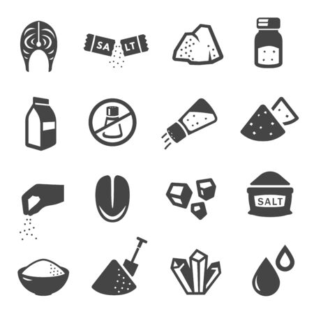 Salt manufacturing and consumption glyph icons set