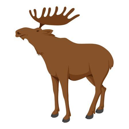 Moose animal, large deer with palmate antlers. Wildlife symbol. Vector flat style cartoon illustration isolated on white background
