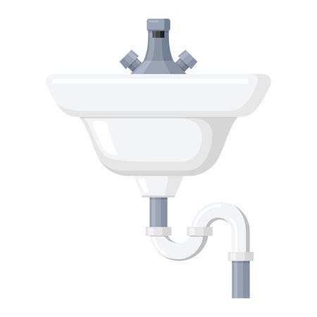 Lavabo icono de cerámica, baño blanco y decoración de cocina. Ilustración de dibujos animados de estilo plano de vector aislado sobre fondo blanco