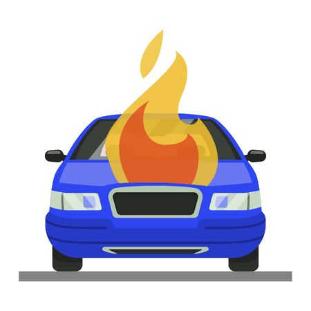 Burning car accident icon, automobile in fire