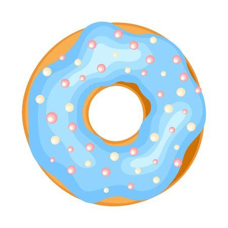Icona di ciambella, pasticceria gustosa ciambella dolce con glassa. Illustrazione del fumetto di stile piano vettoriale isolato su sfondo bianco Vettoriali