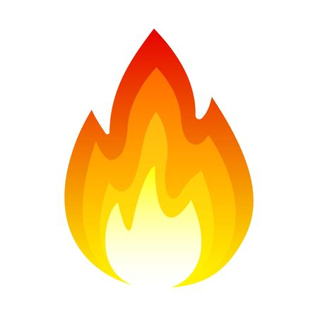 Fire icon, bright light, heat, and smoke, combustion or burning