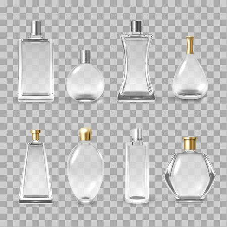 Perfume bottles assortment realistic vector illustrations set. Empty perfumed water containers mockups isolated on transparent background. Luxury glass fragrance vials with golden and silver caps