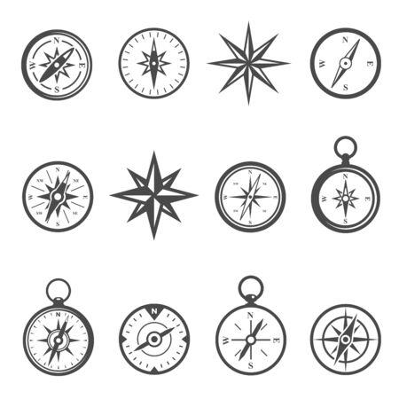 Compass, navigational equipment glyph vector icons set Ilustração Vetorial