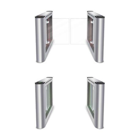 Turnstile with glass doors vector realistic illustration 写真素材 - 137859256