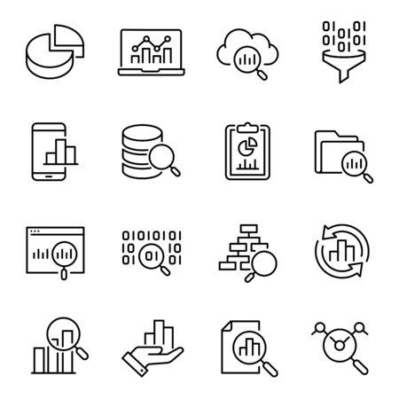 Analisi dei dati, set di icone vettoriali per la ricerca di informazioni