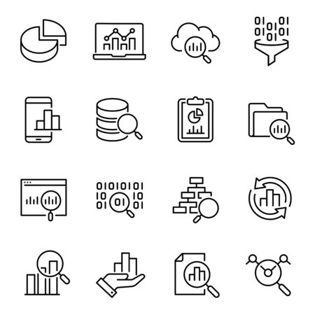 Data analysis, information search vector icons set