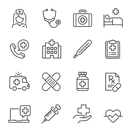 Healthcare industry, medicine linear vector icons set