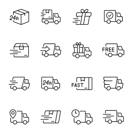 Express delivery service linear vector icons set 일러스트