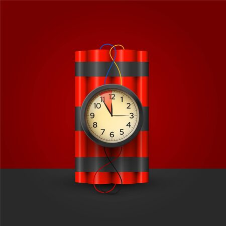 Bomb with timer realistic 3d vector illustration 向量圖像