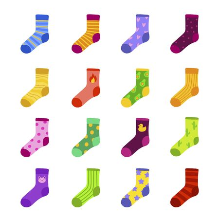 Funny colorful socks flat vector illustrations set. Creative childish footwear, multicolor knitwear with different patterns and drawings. Warm foot wear for children isolated on white background