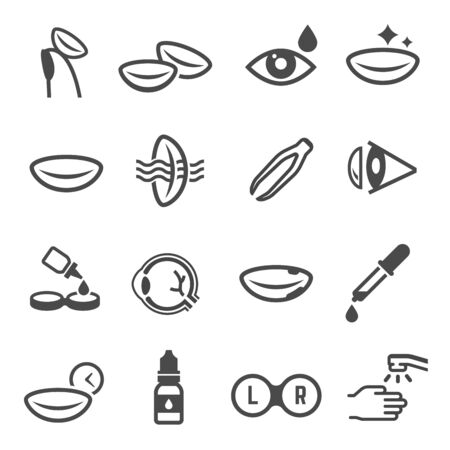 Contact lenses use linear vector icons set