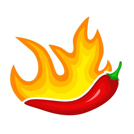 Hot red pepper icon, burning spicy paprika. Food seasoning. Vector flat style cartoon illustration isolated on white background