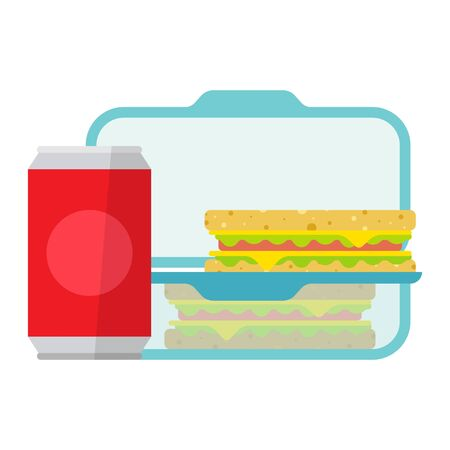 Lunch in a container, plastic food box. Lunchbox for school. Vector flat style cartoon illustration isolated on white background