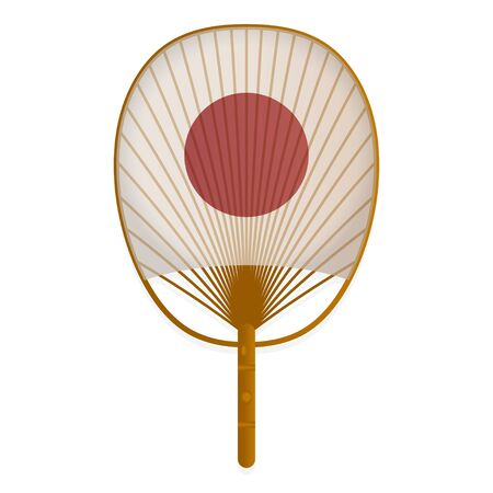 Asian hand fan, traditional cooling device vector realistic illustration Ilustração