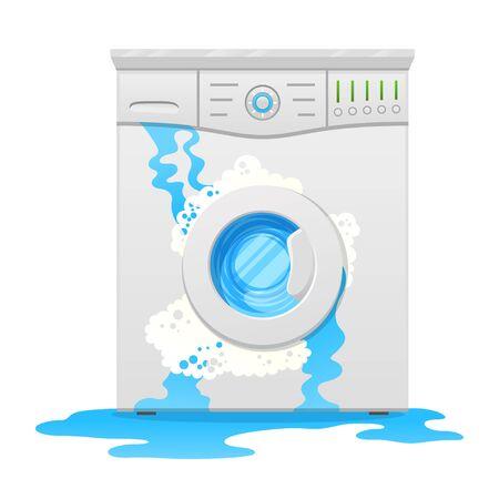 Broken washing machine, household appliance defect flat vector illustration