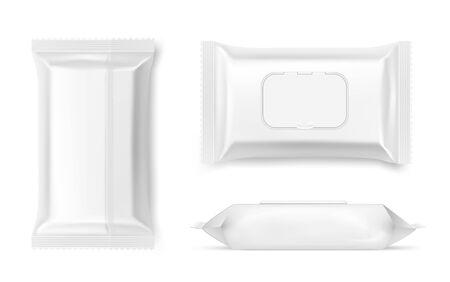 Verpackung von Feuchttüchern, antibakterielles Serviettenbehältermodell. Kosmetikverpackungen sehen realistischen 3D-Vektorsatz an. Reinheit, Sauberkeit, persönliche Hygiene. Beauty-Produktpaket Vorder-, Ober- und Seitenansichtspaket