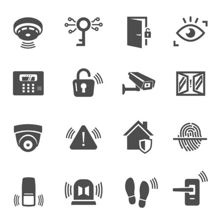 Home security, house protection glyph icons set