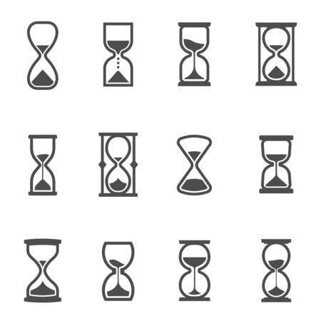 Hourglasses, ancient horologe, vintage clocks glyph icons set