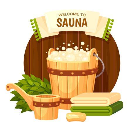 Banner template for sauna cartoon colorful vector illustratio Illustration