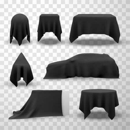 Collection of black satin clothes covering tables  イラスト・ベクター素材