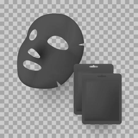 Black facial mask and package bag mockups
