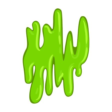 Green slimy slippery slime, sticky wet organism. Bright slime splash. Vector flat style cartoon illustration isolated on white background Illustration