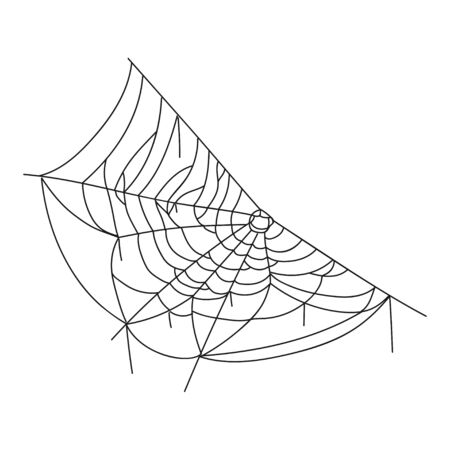 Spider web black icon, halloween spiderweb symbol. Sticky tangled decoration, line art pattern. Vector illustration on white background  イラスト・ベクター素材