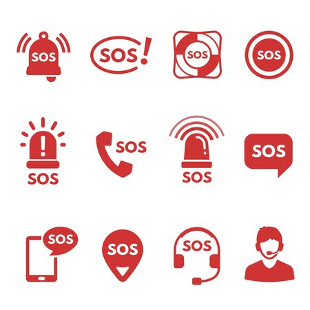 SOS, alarm or help signals, crisis hotline, helpline dispatcher, ambulance and emergency service, survival, rescue and lifesavers. Collection of red flat icons or symbols. Modern vector illustration.