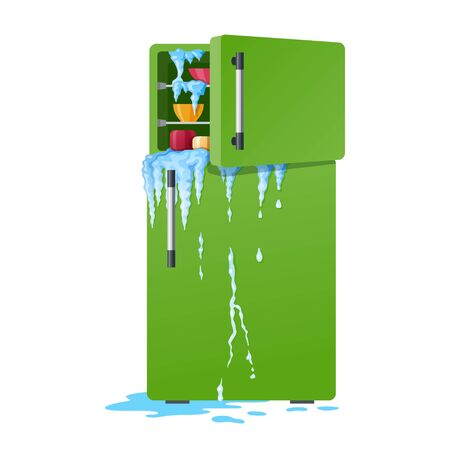 Broken refrigerator with opened freezer, melting ice and dripping water. Damaged fridge, old kitchen appliance with leakage or crash of defrosting system, Flat cartoon colorful vector illustration. Vector Illustratie