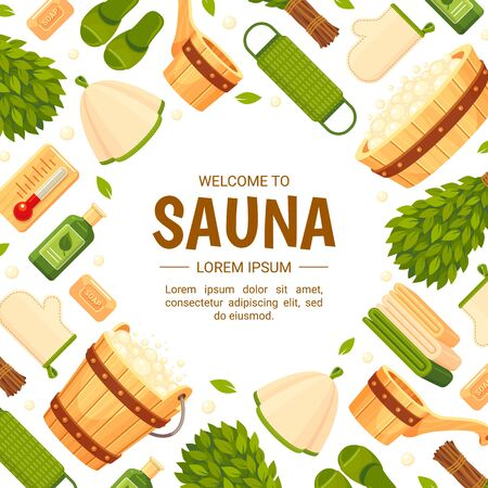 Square banner template for sauna or SPA center with frame