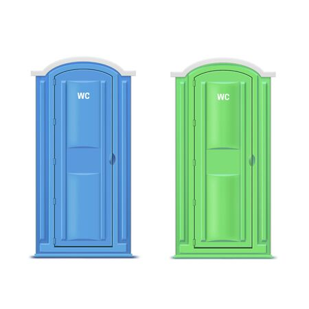 Portable or mobile chemical dry bio toilets isolated on white background. Bundle of outdoor plastic lavatory stall, modern movable water closet or WC, public restroom. Realistic vector illustration.