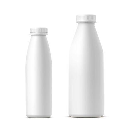 Set of milk or dairy bottles mockups