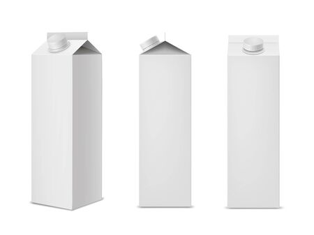 Clean white milk or juice package mockups