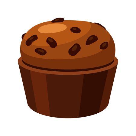 Brown homemade muffin, tasty baked spongy cake