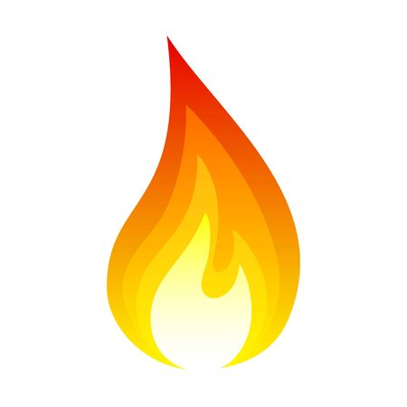 Fire icon, bright light red design effect Illustration