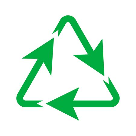Green recycling triangle icon, environmental natural symbol  イラスト・ベクター素材