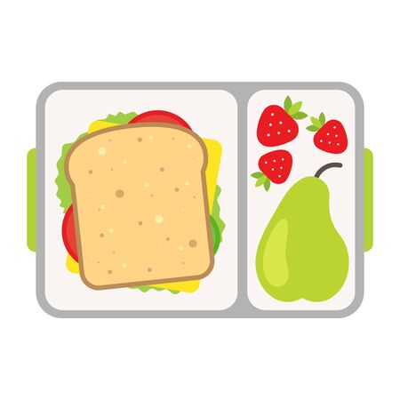 Lunch on a tray, healthy meal for school snack Foto de archivo - 142869268