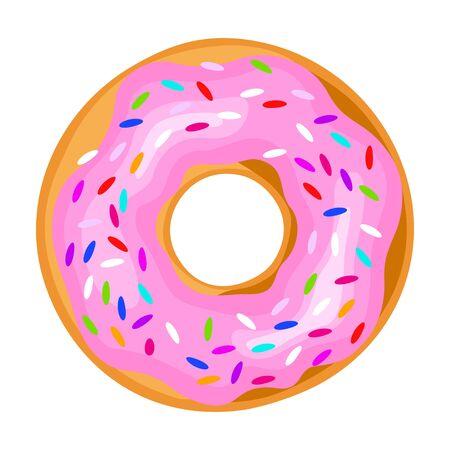 Pink icing donut, sweet confectionery for celebration Ilustracje wektorowe