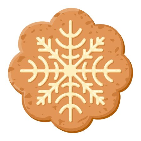 Christmas oatmeal cookie icon, sweet holiday dessert