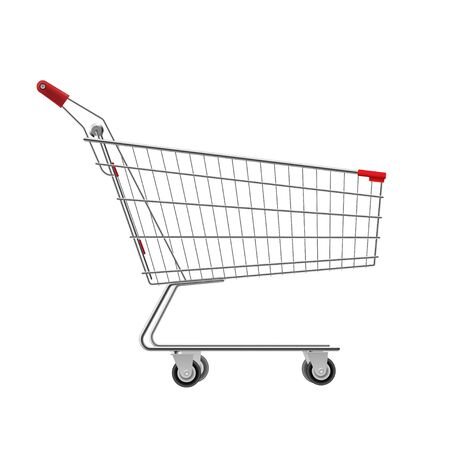 Metal wire small shopping cart for mall, supermarket trolley. Empty bag on wheels to carry heavy items, purchasing. Vector illustration