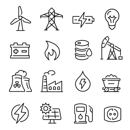 Energy line art icon, technology and electricity power