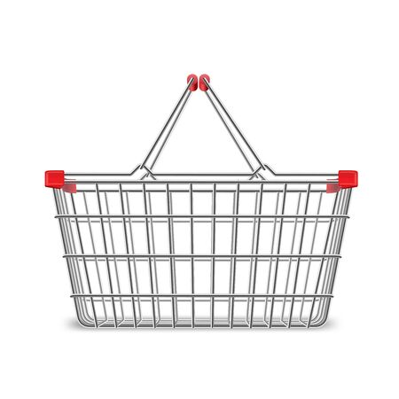 Metal wire small shopping basket for mall and supermarket. Convenient consumer for perfect storage or easy carrying. Vector illustration