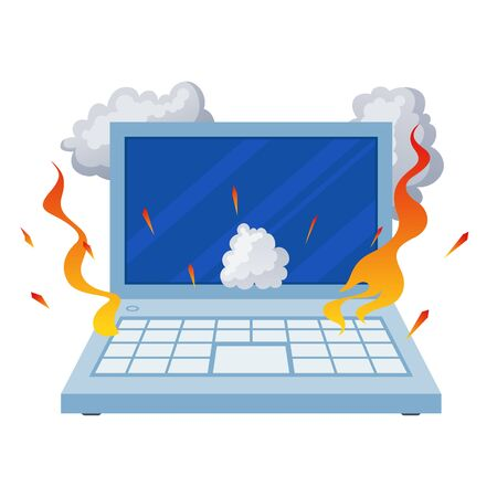 Broken open laptop, damaged equipment in fire. Overheated damaged computer burning. Vector flat style cartoon illustration isolated on white background