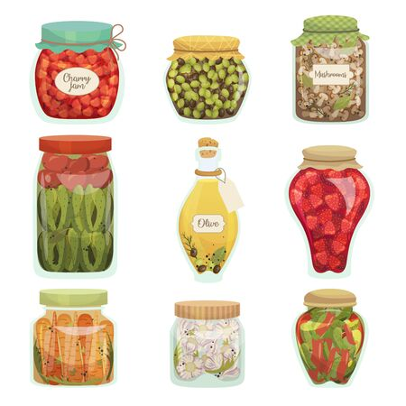Pickled vegetables food, homemade glass jar set Çizim