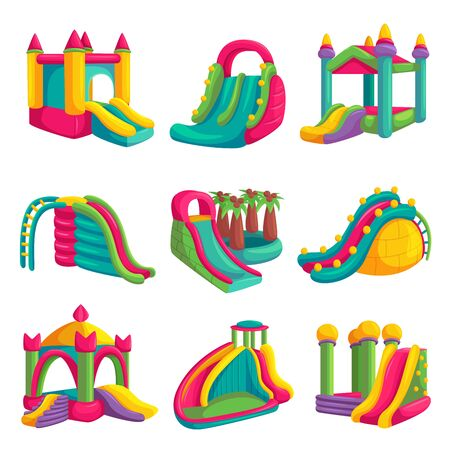 Inflatable bright castle fun for playground set