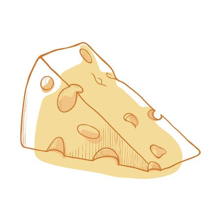 Piece of cheese icon, organic fresh product. Breakfast dairy appetizer and healthy snack, delicious food. Vector illustration  イラスト・ベクター素材