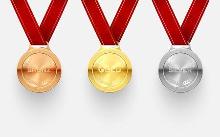 Premio conjunto de medallas, trofeo y honor por logros. Premio, marca de reconocimiento para dar en honor al deporte, logro musical. Ilustración vectorial Ilustración de vector