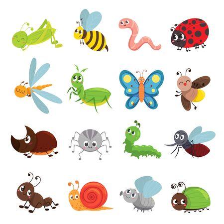 Funny insect set, bug, beetle, butterfly symbol Ilustración de vector