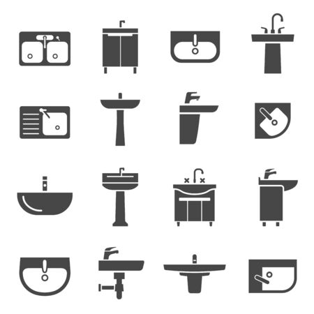 Sink with taps icon set for kitchen and bathroom. Apartment for domestic decoration, hygiene. Vector line art illustration on white background